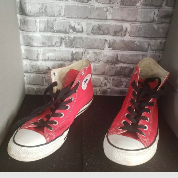 Perfectly broken in Red Converse High Tops